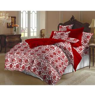 Red and White Flower Brocade King size Duvet Cover Set (India