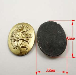 32mm Gold tone resin cameo cabochons angel firure charm findings 8pcs