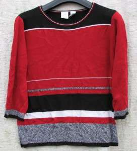 James Liz Claiborne Red/Black/Tweed Dressy Sweater $5.50 SHIPPING FALL