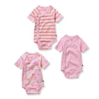 George   Newborn Girls Organic Cotton Bodysuits, 3 Pack Eco Baby