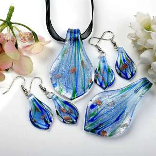 Sky Blue Lampwork Glass Bead Necklace Pendant Earring