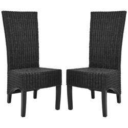 St. Croix Wicker Black High Back Side Chairs (Set of 2)