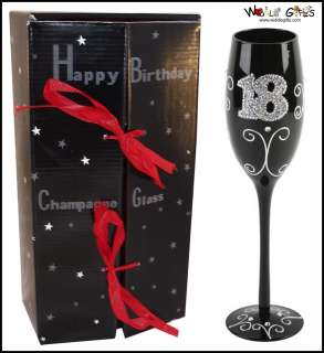 GIFT BOXED 18th BIRTHDAY GLASS CHAMPAGNE FLUTE