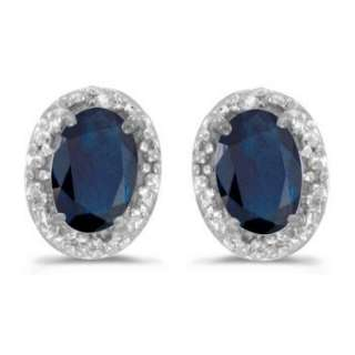 20 Oval Sapphire & Diamond Earrings 14k White Gold