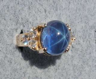 BLUE LINDE LINDY STAR SAPPHIRE CREATED 6.51 GM SOLID 14 KYG RING