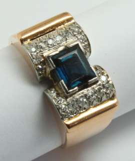00CT Blue Sapphire & Pave Diamond Two Tone 18K Gold Mens Ring