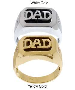 Diamond Black Onyx 10k Gold Dad Ring