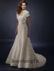 New Short Sleeve Jacket Lace Bridal Wedding Dress Gown