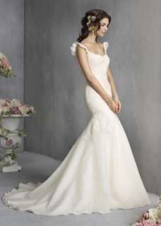 White Lace Satin Organza Bridal Gown Wedding Dress New