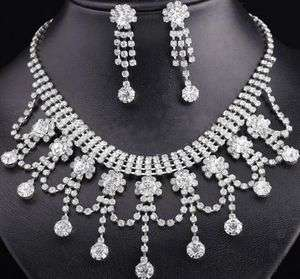 SHAPE BRIDAL JEWELRY NECKLACE EARRING SET for WEDDING PAGEANT