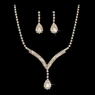 Bridal Wedding Jewelry Set Necklace Earring Crystal Rhinestone LG V