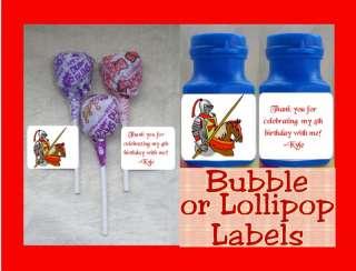 Medieval Knight Dragon Favor Lollipop Bubble Tag Labels