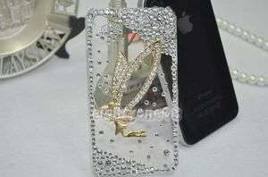 Girl Wing Rhinestone Crystal Back Bling iPhone 4G 4 Case Cover