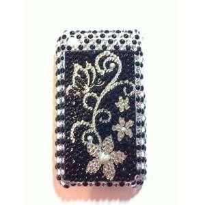Black Silver Flower Crystal Diamond Bling Rhinestone