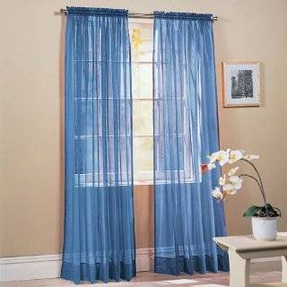 Piece Solid Sky Blue Sheer Window Curtains/drape/panels / treatment