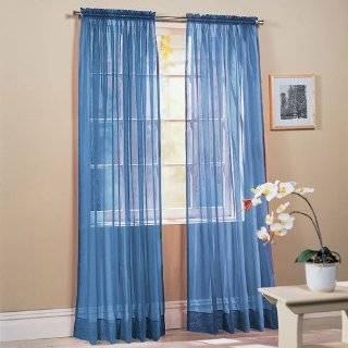 Piece Solid Sky Blue Sheer Window Curtains/drape/panels / treatment
