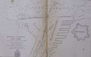 HARBOR SOUNDINGS NEW YORK, NY. LAKE ERIE, FORT ONTARIO. ANTIQUE MAP