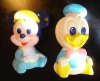 VINTAGE 1984 DISNEY BABY MICKEY BABY DONALD SQUEEK TOYS