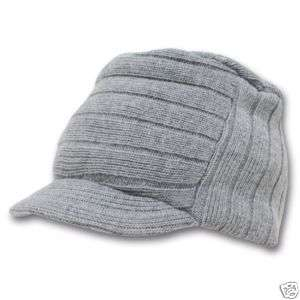 Grey Jeep Flat Top Beanie Knit Cap Winter Hat
