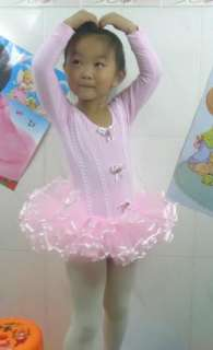 Long Sleeve Leotard Ballet Tutu Costume Dance Skirt Dress 3 8Y