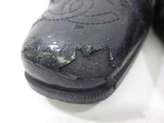 AUTH CHANEL Black Leather Cap Toe Pumps Sz 5.5