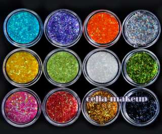 12 Color Strip Glitter Nail Art Tool Kit Acrylic UV Powder Dust