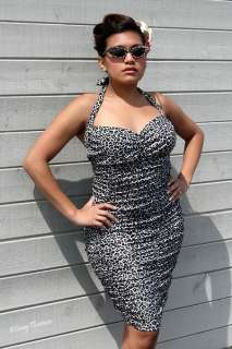 Broad Minded Rockabilly Pinup Leopard Print Dress   XXL