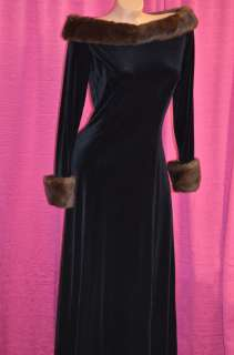 BLACK FAUX FUR VELOUR STRETCH VELVET RARE VINTAGE DRESS M 6