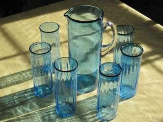 Strombergshyttan Sweden Hand Blown SIGNED Blue Glass Pitcher 10 6