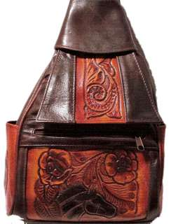 GENUINE BROWN HAND TOOLED LEATHER SLING BACKPACK