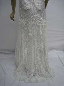Wong Lace Beige Ivory Cream White Dress Evening Wedding Gown 6