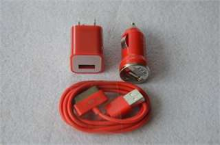 AC Home Wall +Car Charger +Data Cable for iPod Touch 4 iPhone 3GS 4 4S