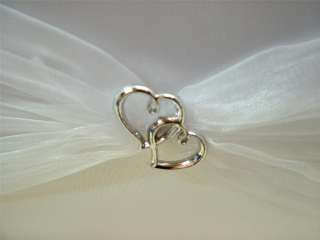 White Satin & Organza Silver Linked Heart Guest Book Wedding