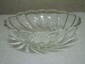 HAZELWARE CAPRI SWIRL CLEAR GLASS 9 SERVING BOWL