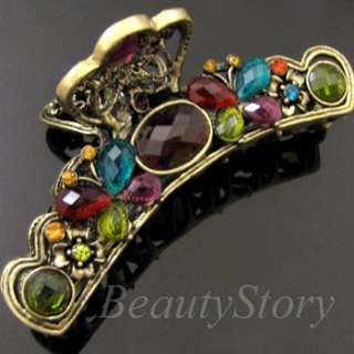 1p rhinestone crystal Antiqued butterfly hair claw clip