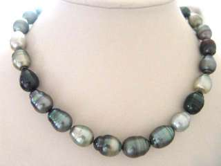 NATURAL MULTI COLOR SS TAHITIAN PEARL NECKLACE 18