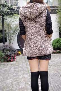 Women Ladies Sleeveless Luxury Faux Fur Leopard Jacket Coat K083