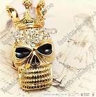 hot cute golden crystal crown skull pin brooch