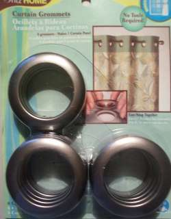 DRITZ HOME CURTAIN GROMMETS ~8 GROMMETS  MAKES 1 CURTAIN PANEL~ PEWTER