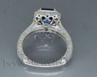 cut Solid 14Kt White Gold Gold 3.08ct Diamond blue Sapphire Ring