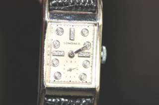 Vintage 14K White Gold Mens Longines 17 Diamonds 17 Jewels Art Deco