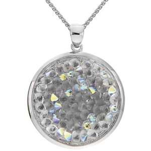Bronze Clear Crystal Rock and Ice Round Pendant Necklace