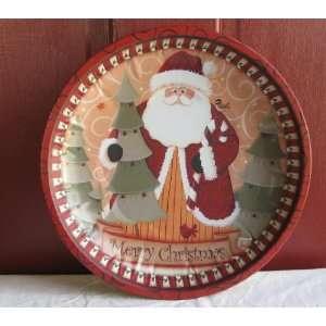 Workbench Merry Christmas Santa 10 inch Tin Dish