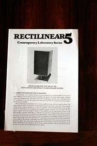 Rectilinear 5 Speaker Owners Manual *Original*