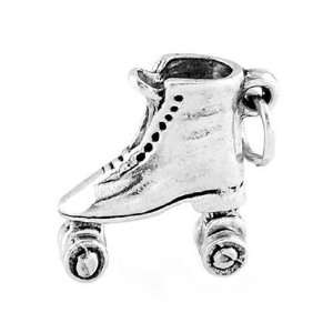 Silver Three Dimensional Roller Derby Roller Skate Charm Jewelry