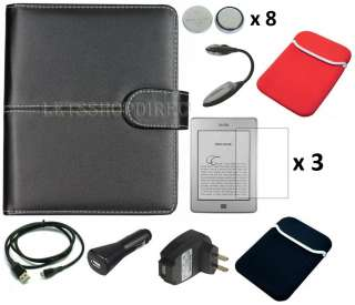 Black Leather Case Cover Charger Cable for  Kindle Touch