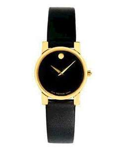 Movado Womens Museum Black Leather Watch