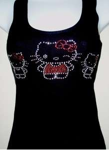 NEW WOMENS (HELLO KITTY FAMILY) RHINESTONE TANK TOP, BLACK SIZE S,M,L
