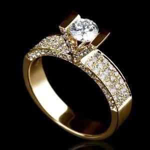 Holyland 2 CT ROUND CUT REAL DIAMOND WEDDING RING 18K Y