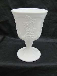 Indiana Milk White Glass Harvest Grape   Lot 3 Goblets